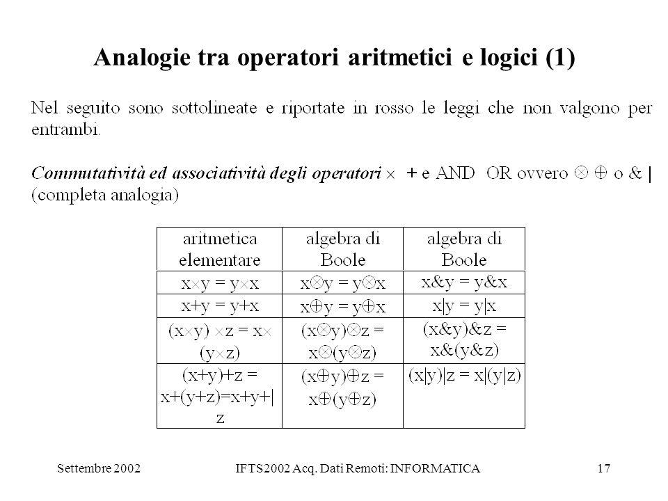 Analogie tra operatori aritmetici e logici (1)