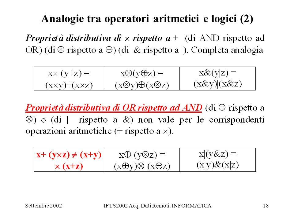 Analogie tra operatori aritmetici e logici (2)
