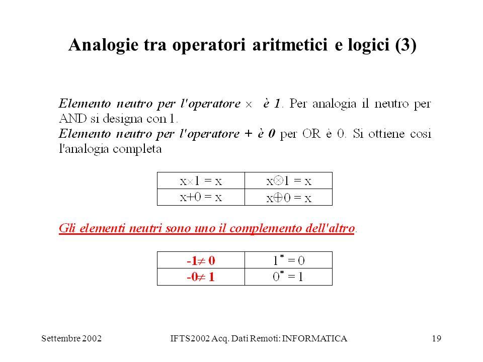 Analogie tra operatori aritmetici e logici (3)