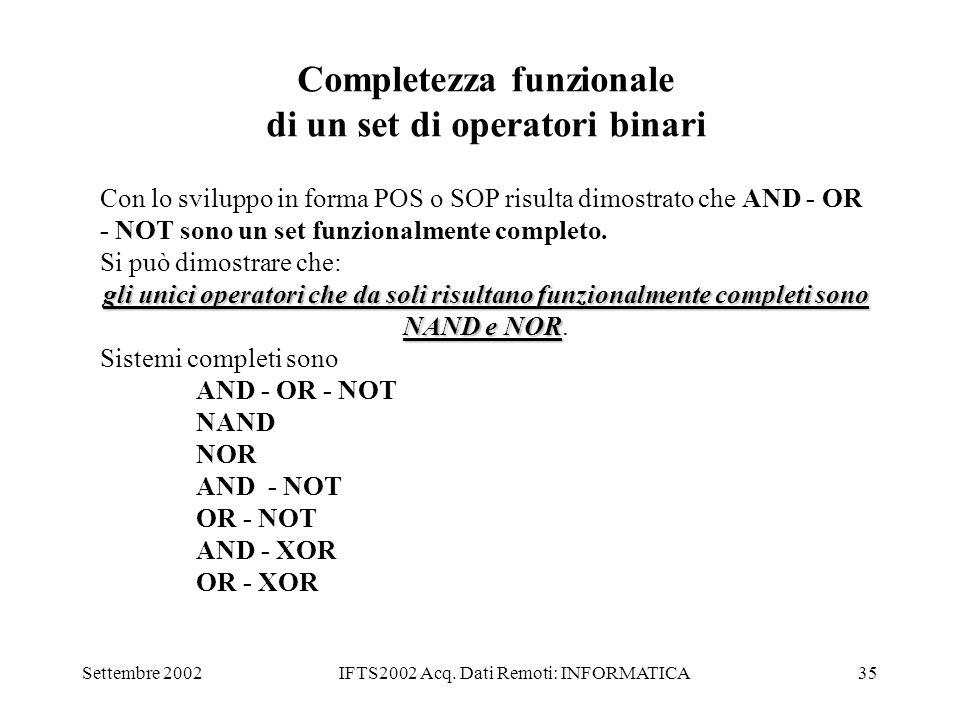 Completezza funzionale di un set di operatori binari