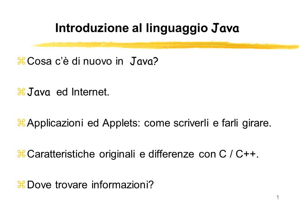 Introduzione al linguaggio Java