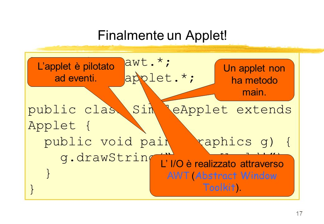 public class SimpleApplet extends Applet {