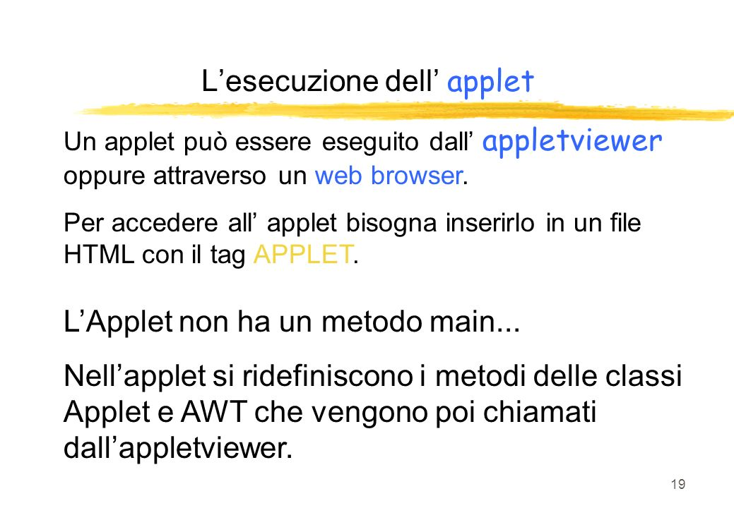 L'esecuzione dell' applet