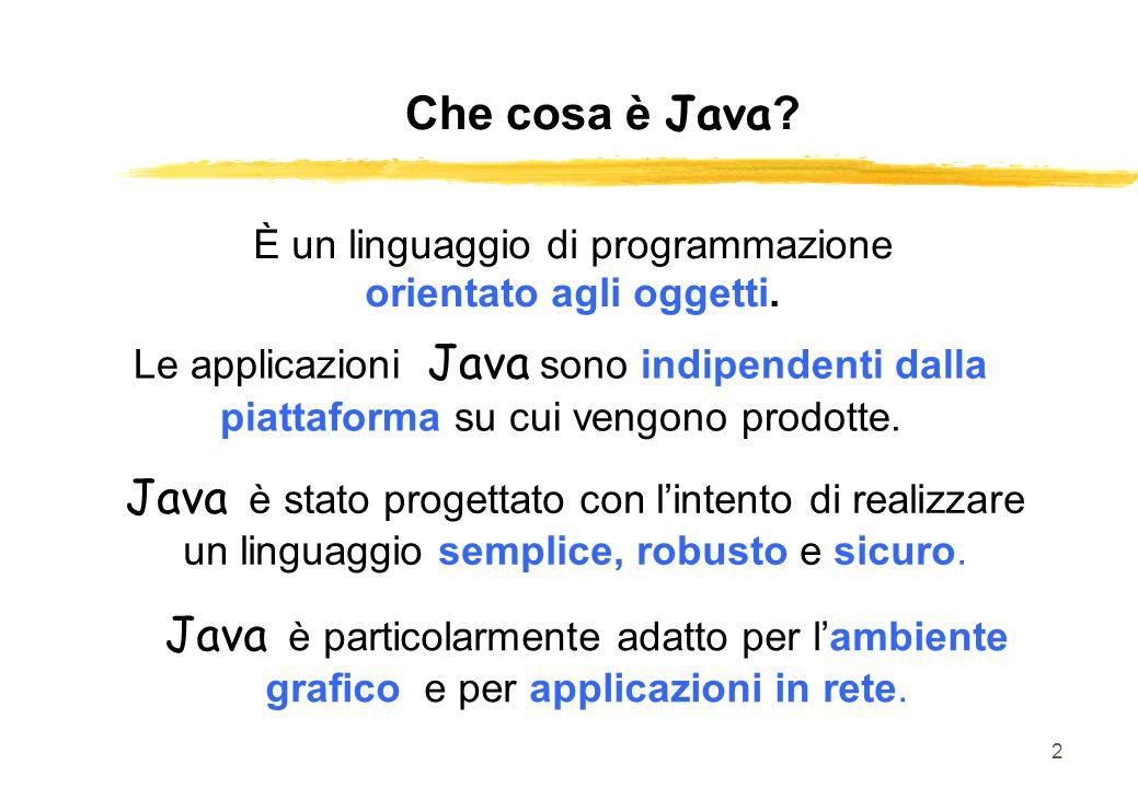 Che cosa è Java È un linguaggio di programmazione. orientato agli oggetti.