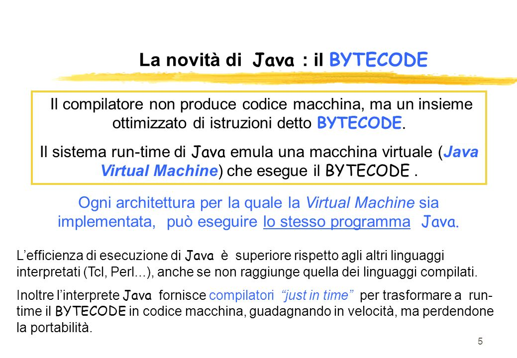 La novità di Java : il BYTECODE