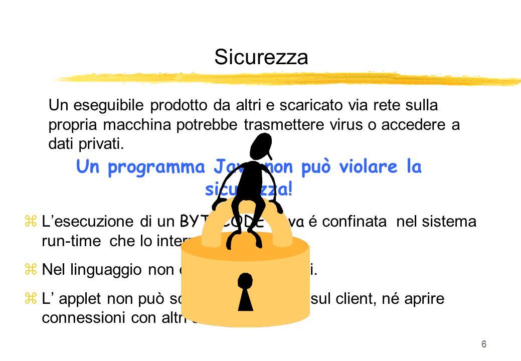 Un programma Java non può violare la sicurezza!