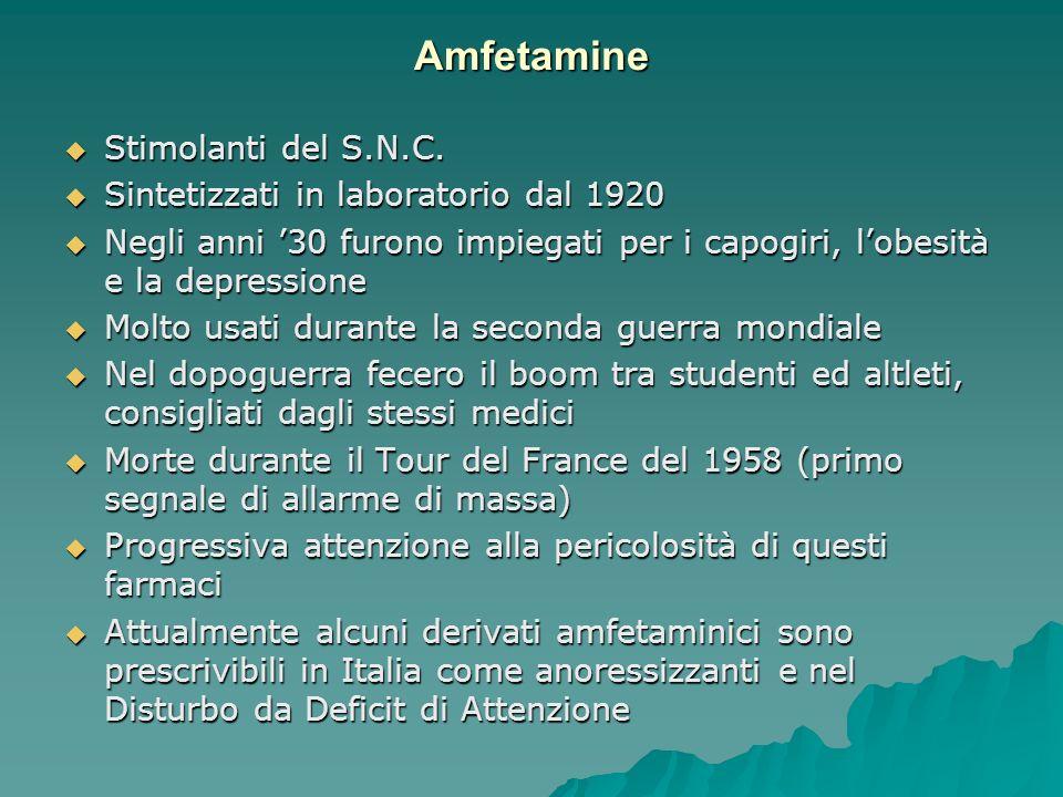 Amfetamine Stimolanti del S.N.C. Sintetizzati in laboratorio dal 1920