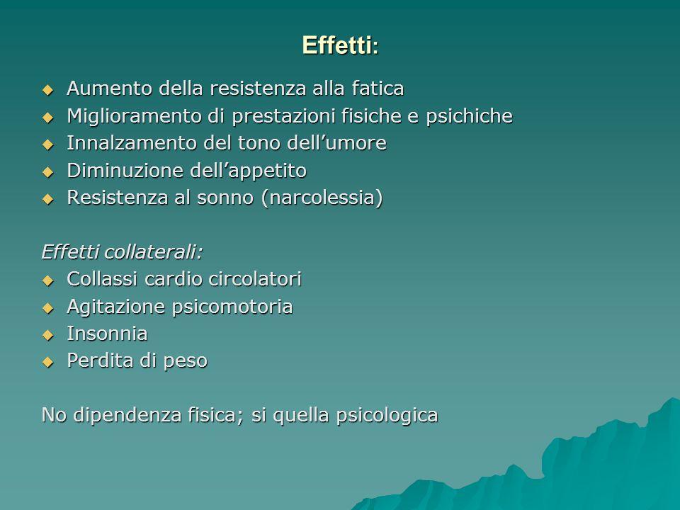 Effetti: Aumento della resistenza alla fatica