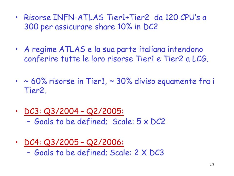 Risorse INFN-ATLAS Tier1+Tier2 da 120 CPU's a 300 per assicurare share 10% in DC2