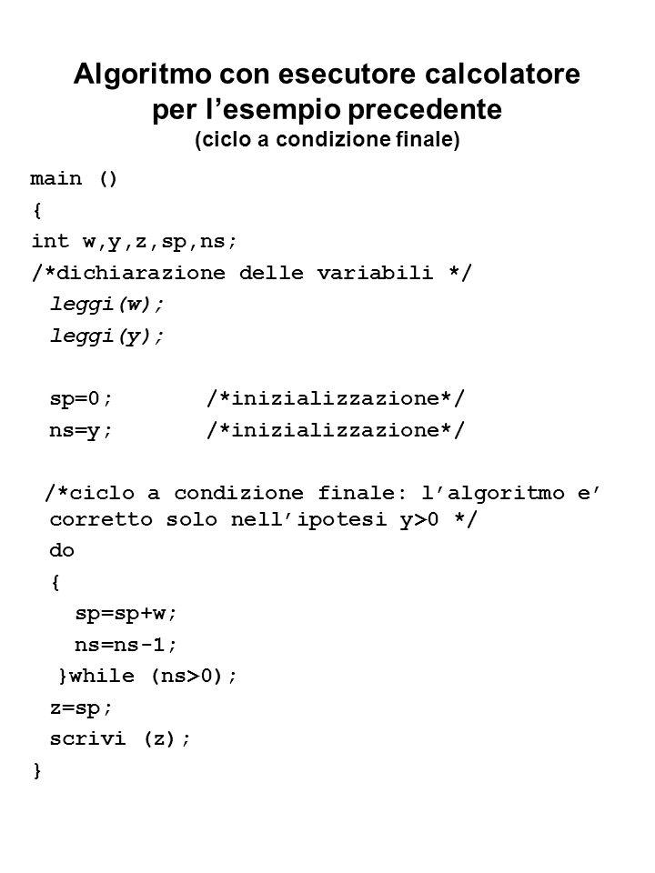 Algoritmo con esecutore calcolatore per l'esempio precedente (ciclo a condizione finale)