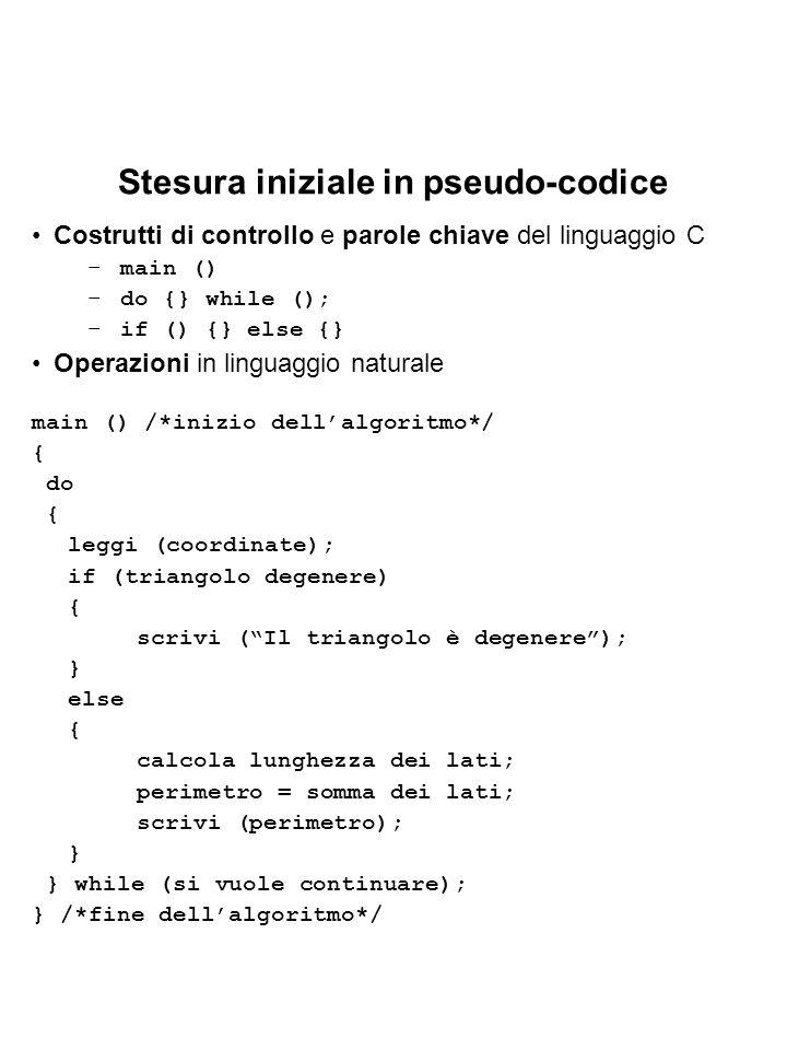 Stesura iniziale in pseudo-codice