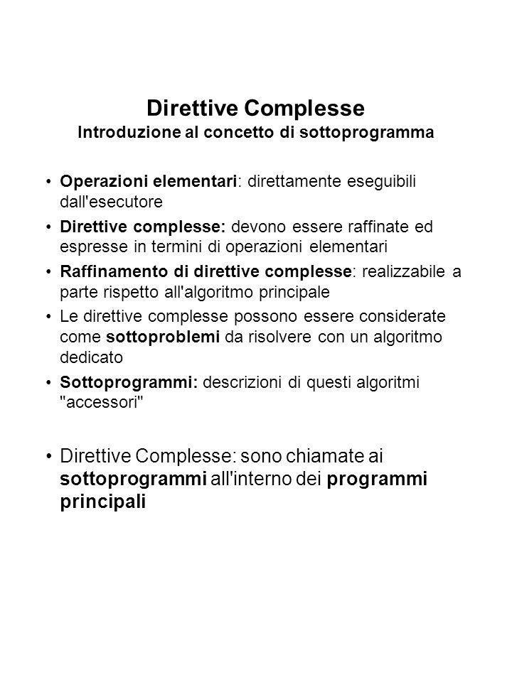 Direttive Complesse Introduzione al concetto di sottoprogramma