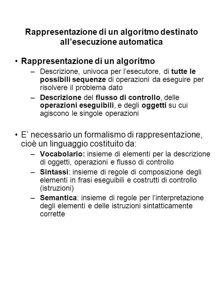 Rappresentazione di un algoritmo destinato all'esecuzione automatica