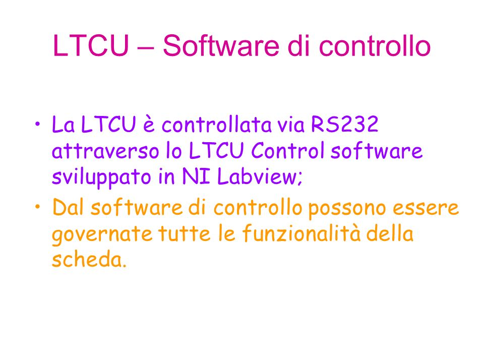 LTCU – Software di controllo