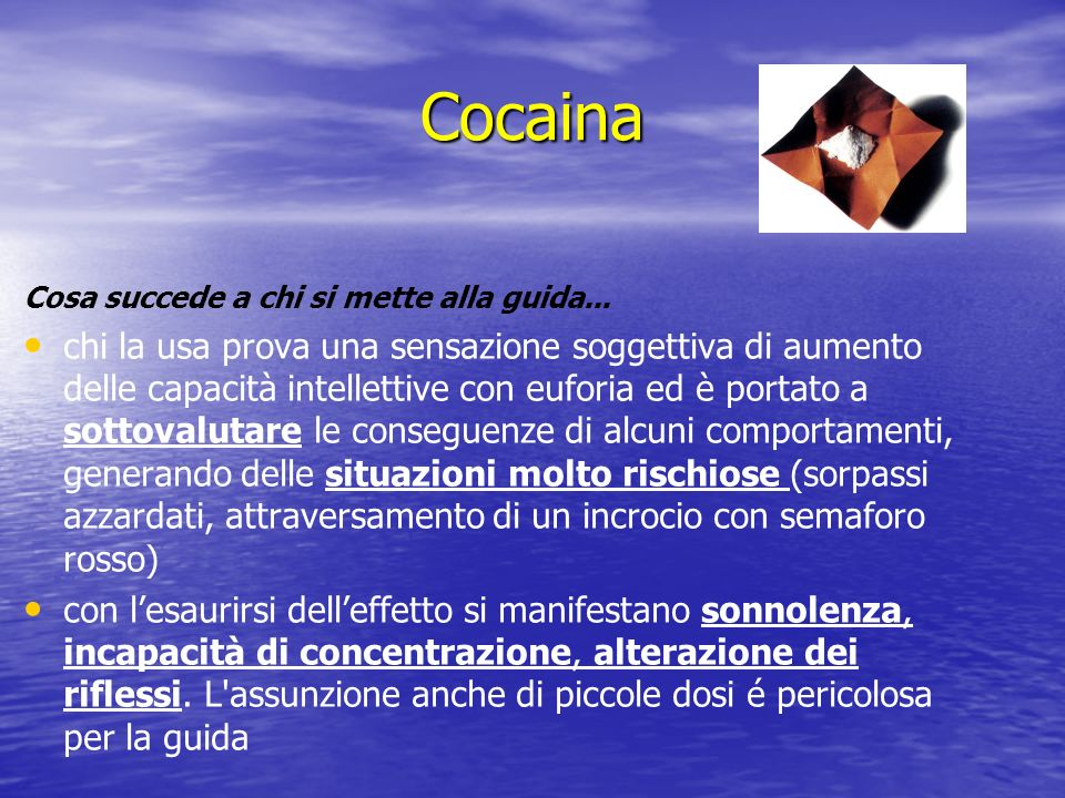 CocainaCosa succede a chi si mette alla guida...