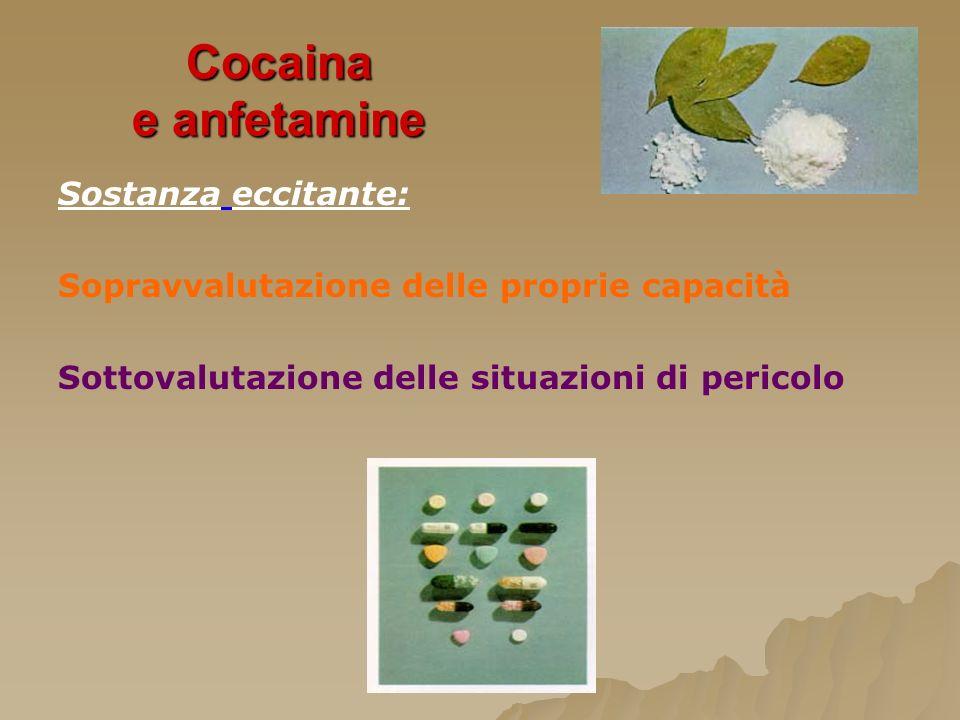 Cocaina e anfetamine Sostanza eccitante: