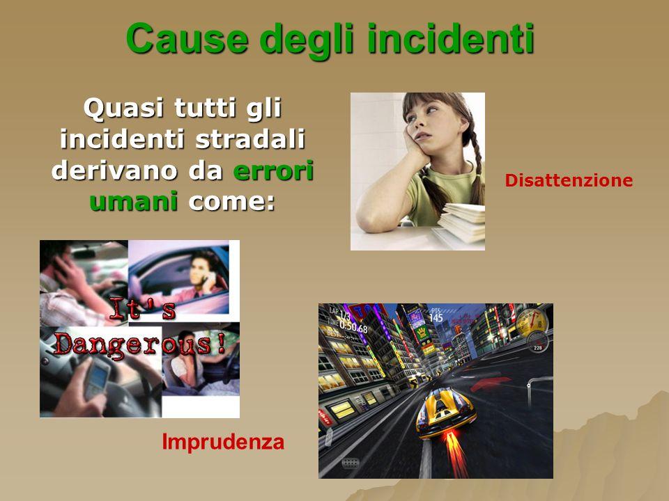 Quasi tutti gli incidenti stradali derivano da errori umani come: