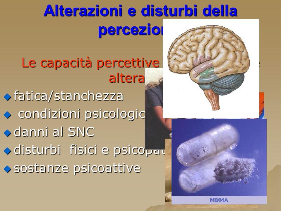 Alterazioni e disturbi della percezione:
