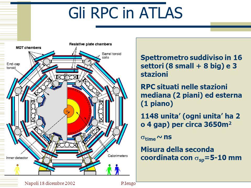 Gli RPC in ATLAS Spettrometro suddiviso in 16 settori (8 small + 8 big) e 3 stazioni.