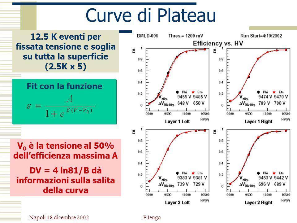 Curve di Plateau 12.5 K eventi per fissata tensione e soglia su tutta la superficie (2.5K x 5) Fit con la funzione.