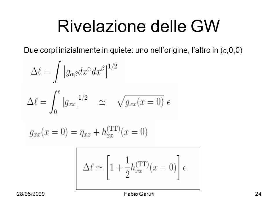 Rivelazione delle GW Due corpi inizialmente in quiete: uno nell'origine, l'altro in (e,0,0) 28/05/2009.