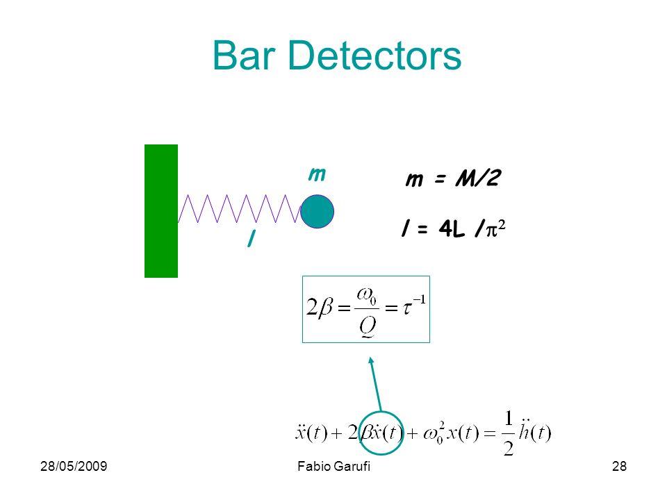 Bar Detectors m m = M/2 l = 4L /p2 l 28/05/2009 Fabio Garufi
