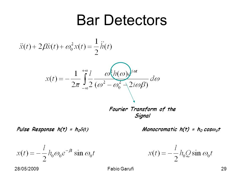 Bar Detectors Fourier Transform of the Signal
