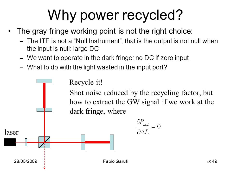 Why power recycled The gray fringe working point is not the right choice: