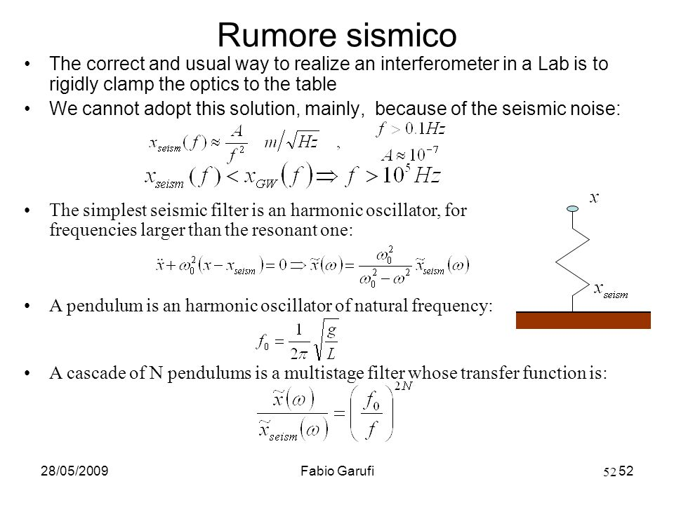 Rumore sismico The correct and usual way to realize an interferometer in a Lab is to rigidly clamp the optics to the table.