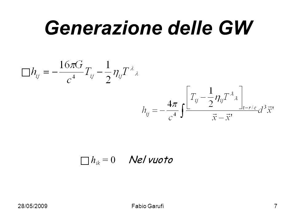 Generazione delle GW hik = 0 Nel vuoto 28/05/2009 Fabio Garufi