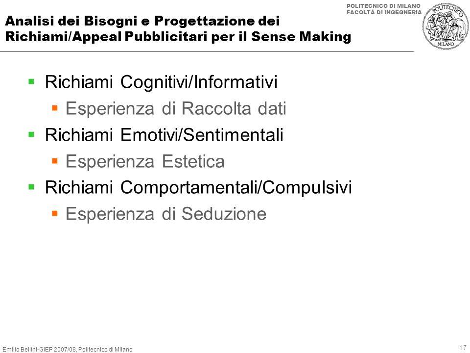 Richiami Cognitivi/Informativi Esperienza di Raccolta dati