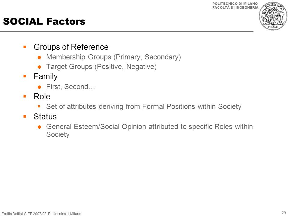 SOCIAL Factors Groups of Reference Family Role Status