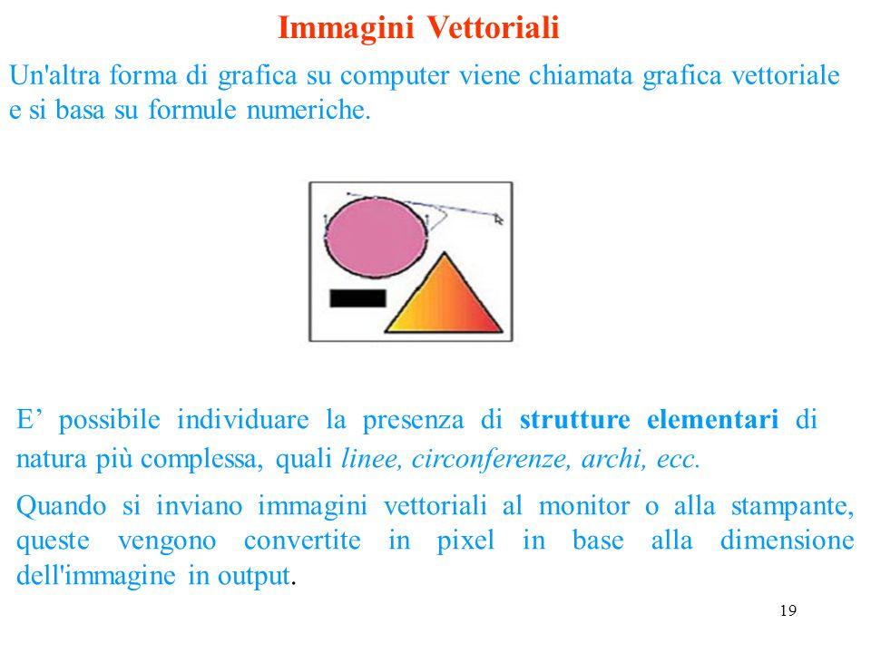 Immagini VettorialiUn altra forma di grafica su computer viene chiamata grafica vettoriale e si basa su formule numeriche.