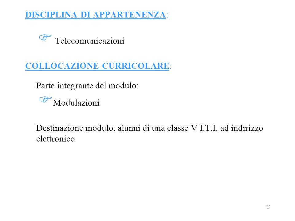 DISCIPLINA DI APPARTENENZA:  Telecomunicazioni