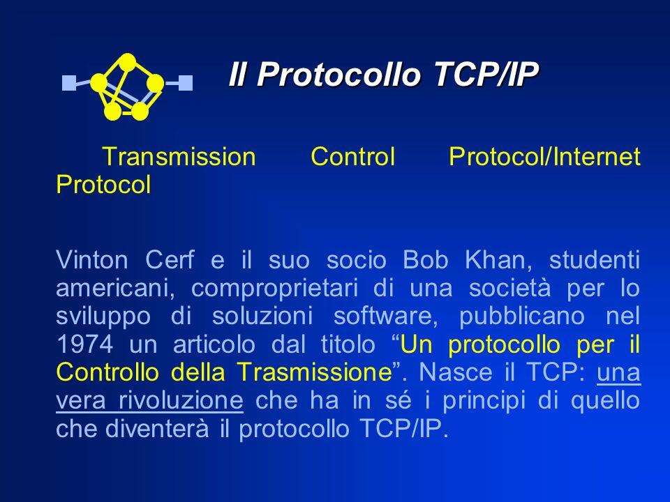 Il Protocollo TCP/IP Transmission Control Protocol/Internet Protocol