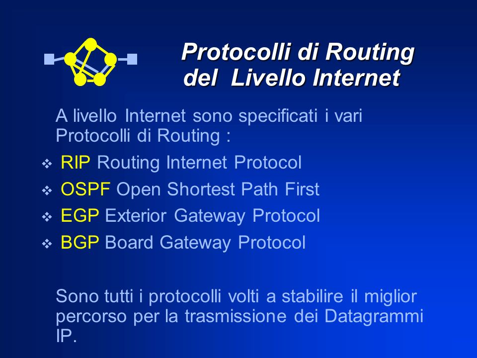 Protocolli di Routing del Livello Internet