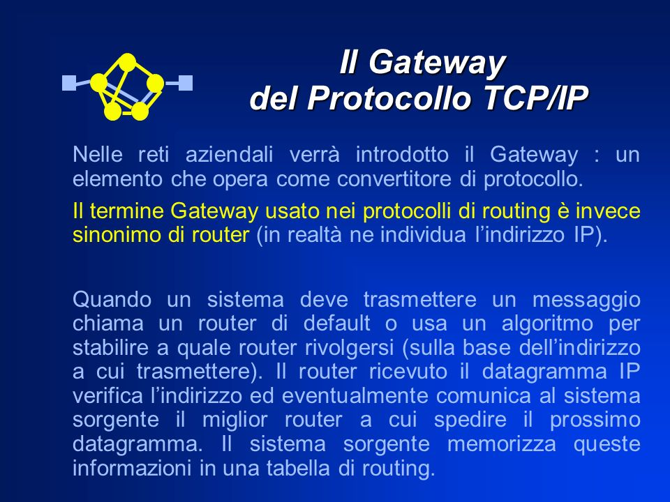 Il Gateway del Protocollo TCP/IP