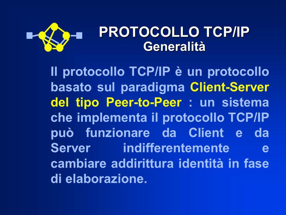 PROTOCOLLO TCP/IP Generalità