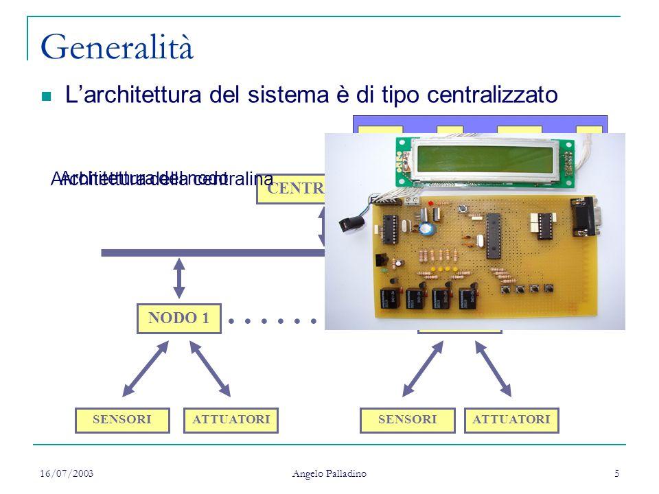 Generalità L'architettura del sistema è di tipo centralizzato. Architettura della centralina. Architettura del nodo.