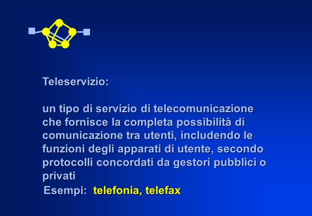 Teleservizio: un tipo di servizio di telecomunicazione. che fornisce la completa possibilità di. comunicazione tra utenti, includendo le.