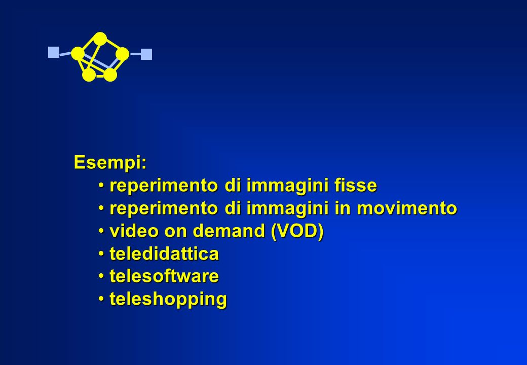 Esempi: reperimento di immagini fisse. reperimento di immagini in movimento. video on demand (VOD)
