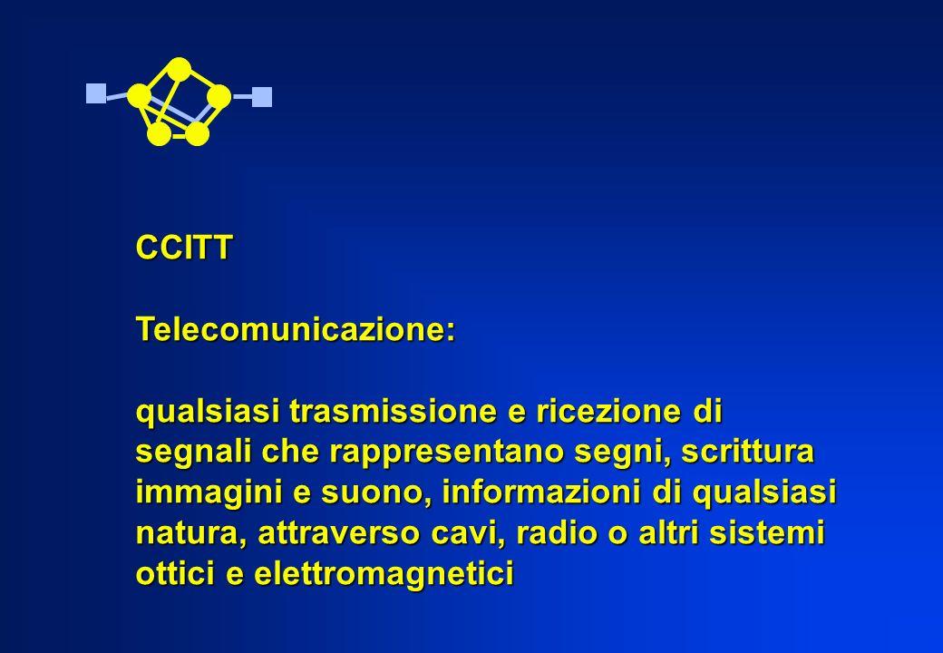 CCITT Telecomunicazione: qualsiasi trasmissione e ricezione di. segnali che rappresentano segni, scrittura.
