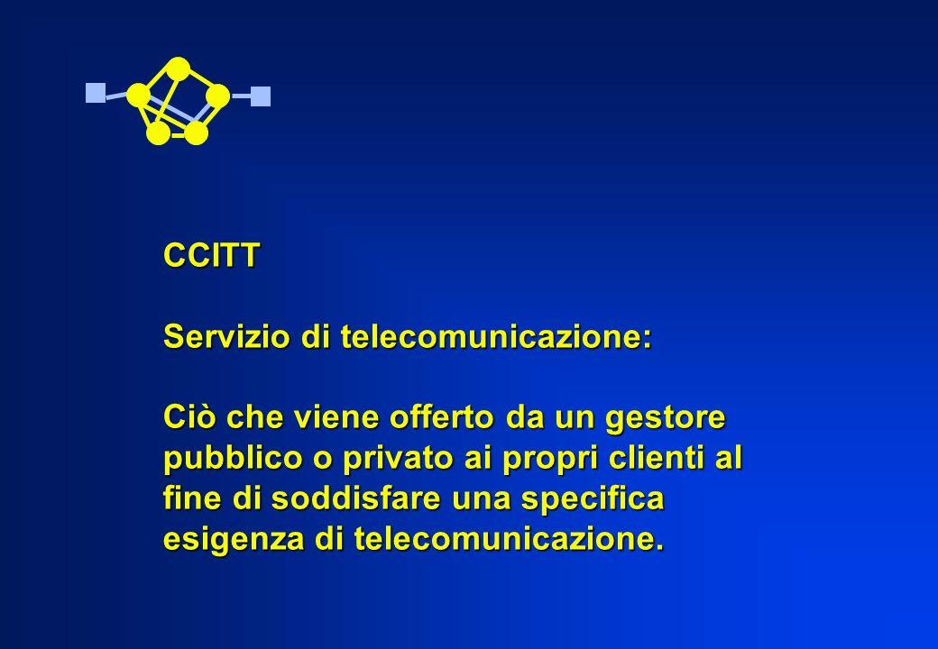CCITT Servizio di telecomunicazione: Ciò che viene offerto da un gestore. pubblico o privato ai propri clienti al.