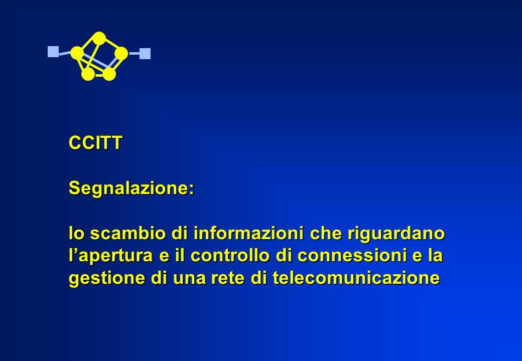CCITT Segnalazione: lo scambio di informazioni che riguardano. l'apertura e il controllo di connessioni e la.