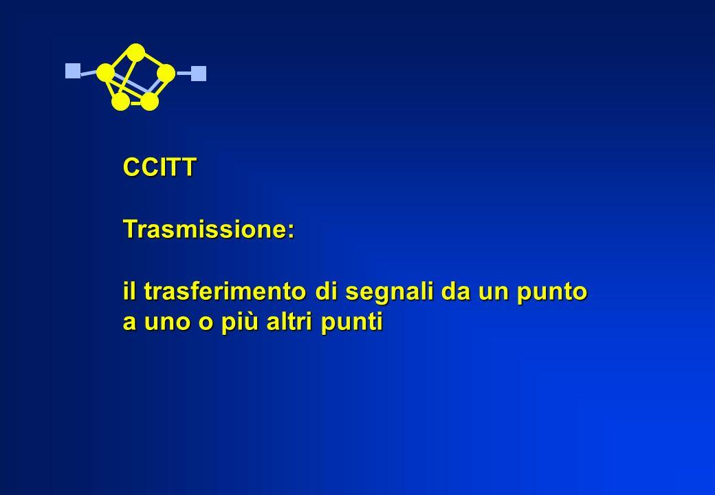 CCITT Trasmissione: il trasferimento di segnali da un punto a uno o più altri punti