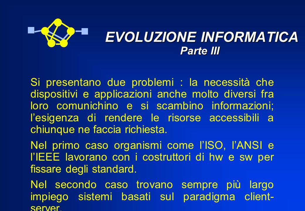 EVOLUZIONE INFORMATICA Parte III