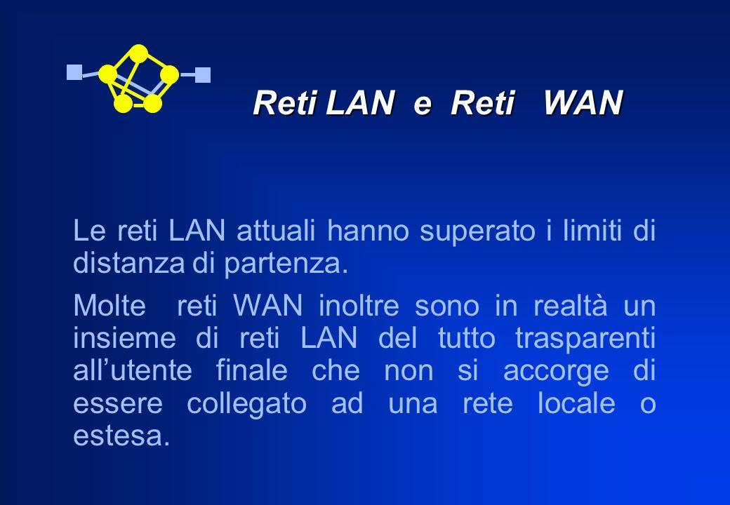Reti LAN e Reti WAN Le reti LAN attuali hanno superato i limiti di distanza di partenza.