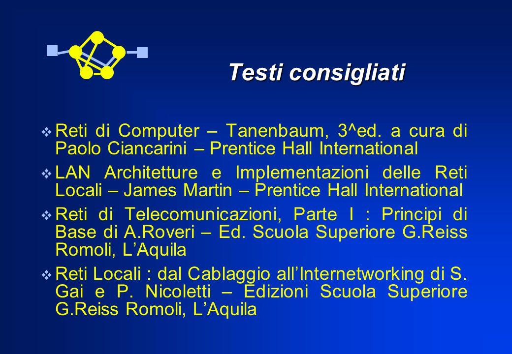 Testi consigliatiReti di Computer – Tanenbaum, 3^ed. a cura di Paolo Ciancarini – Prentice Hall International.