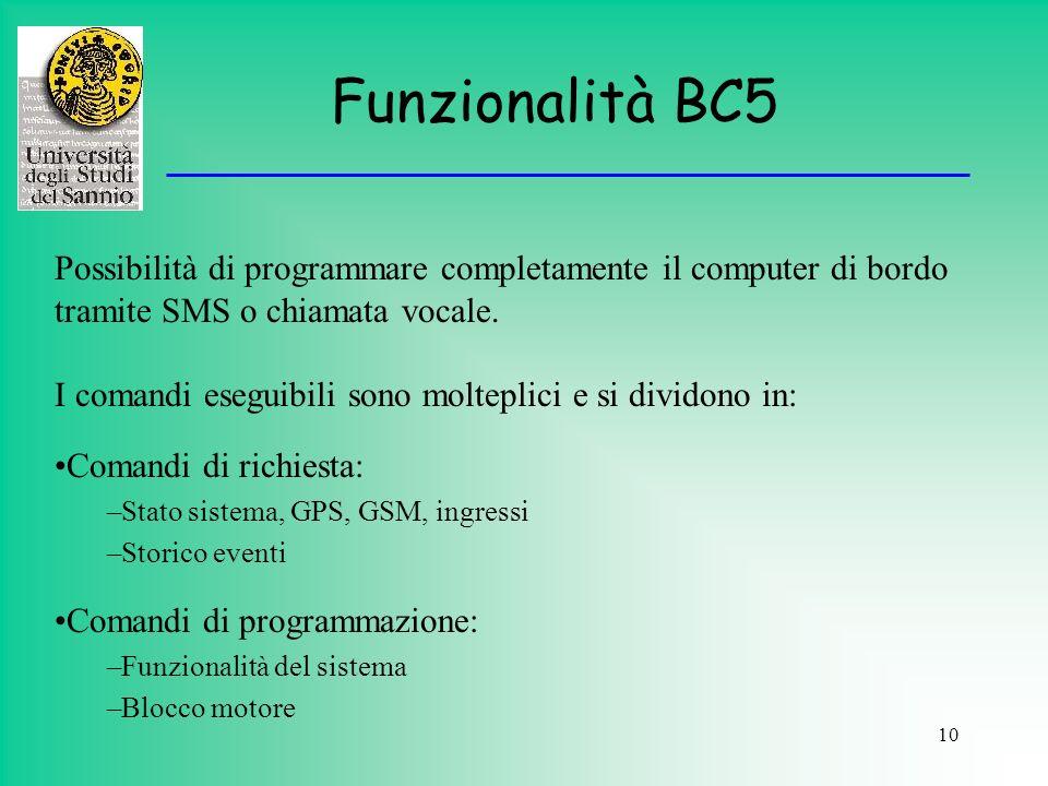 Funzionalità BC5 Possibilità di programmare completamente il computer di bordo tramite SMS o chiamata vocale.