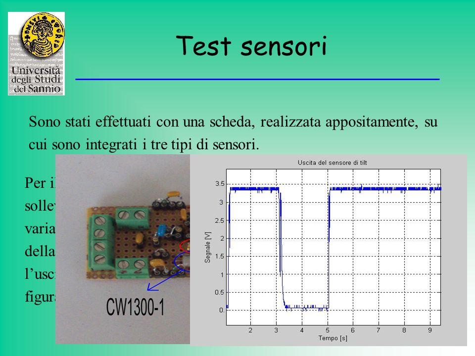 Test sensori Sono stati effettuati con una scheda, realizzata appositamente, su. cui sono integrati i tre tipi di sensori.
